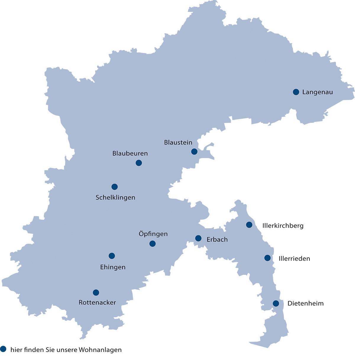 Übersicht aller Standorte unserer Seniorenwohnanlagen im Alb-Donau-Kreis