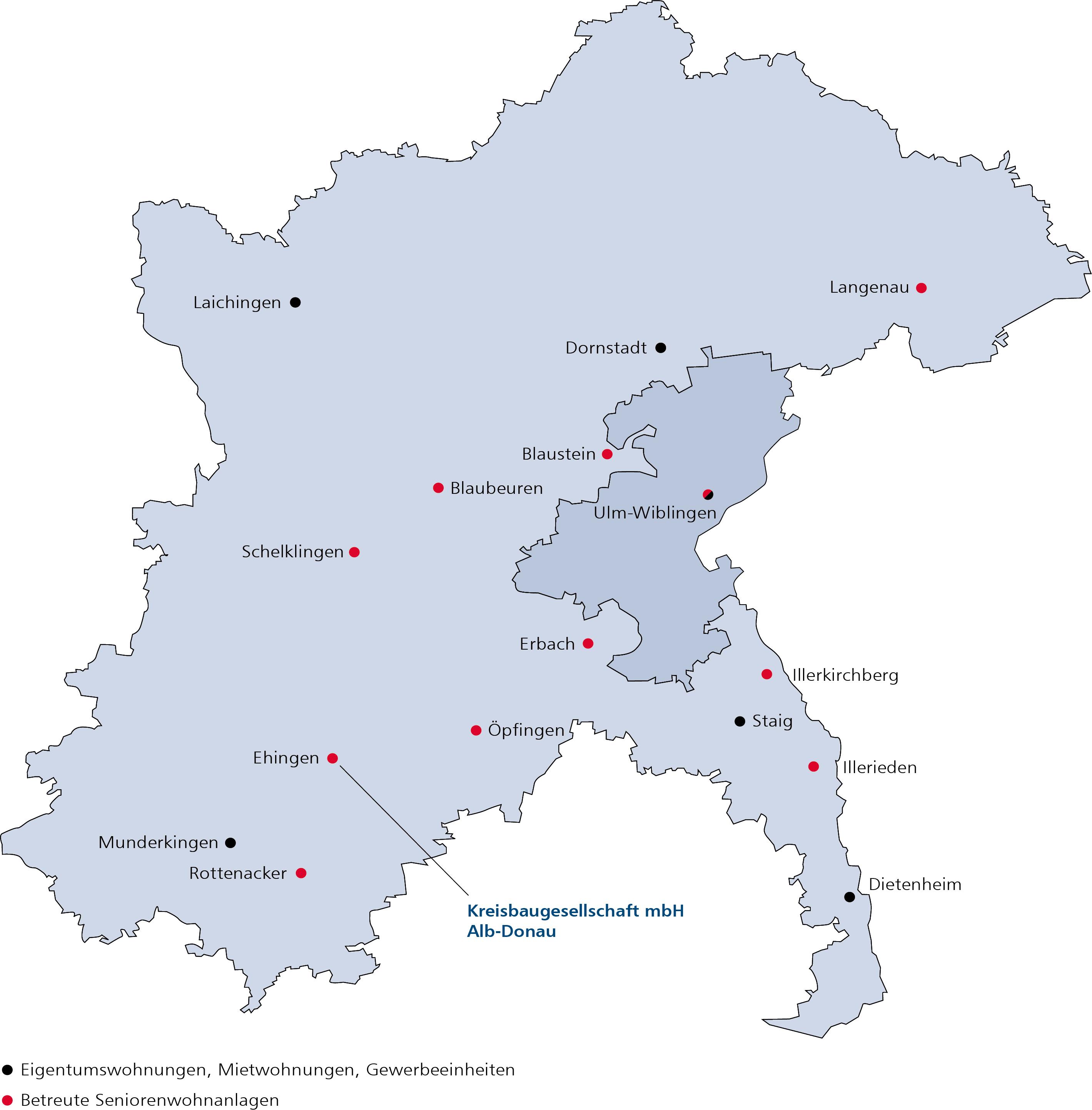 Uebersicht aller Wohnobjekte, Stand 2016, Kreisbaugesellschaft mbH Alb-Donau